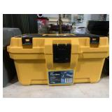 Yellow tool box with misc tools