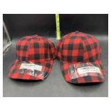 2 Buffalo plaid hats - new