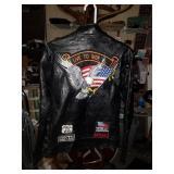Leather Motorcycle Jacket , Diamond Plate Buffalo