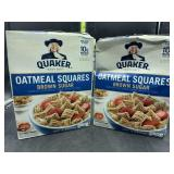 2 boxes Quaker oatmeal squares brown sugar cereal