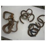 Wood Stirrups (3) and Horse Shoes