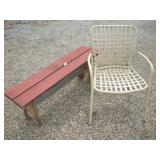 Wood Bench and Outdoor Chair
