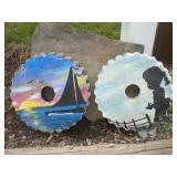 Painted Concrete Discs, 12 in. Diam.