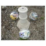 Concrete Pedestal and 3 Painted Bowling Balls
