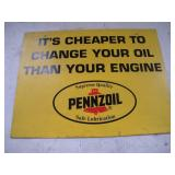 Pennzoil Plastic Sign  14x18 Inches