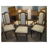 6 Upholstered Oak Chairs
