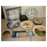 3 Battery Operated Clocks and Decorative Plates
