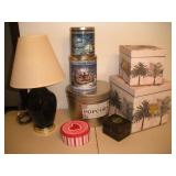 Misc. Lot, Tins, Boxes and Lamp (21 inches Tall)