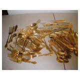 Gold Colored Flatware Set, Marked Stainless Steel