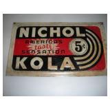 Vintage Nichol Kola Metal Sign  19x11 Inches