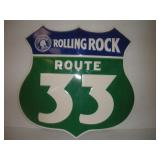Rolling Rock Route 33 Metal Sign  23x22 Inches