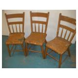 (3) Vintage Plank Seat Chairs