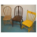 (2) Hoop Back Chairs & Childs Rocking Chair