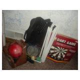 Dart Board, Badminton Set, Bowling Ball