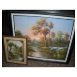 2 Framed Landscapes, Largest 29x26