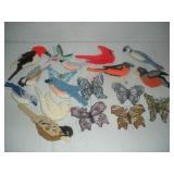 Needlepoint Birds and Glass Butterflies