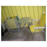 Aluminum Chairs (5) and Folding Table