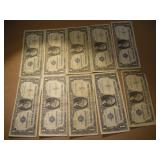 (10) One Dollar Silver Certificates