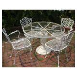 Metal Patio Chairs W/Glass Top Table