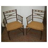 (2) Bamboo Chairs W/Cained Seats
