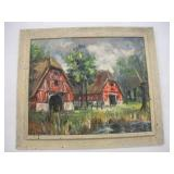 Oil On Canvas Painting Of Two Barns