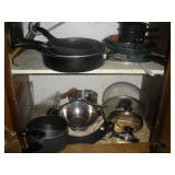 Contents of Cabinet-Pots and Pans-Some T-Fal