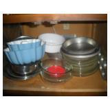 Contents of Cabinet-Baking Pans, Pyrex Pie Pans