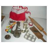Vintage Kitchen Utensils-Grinder, Wood Rolling