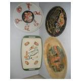 Souvenir Metal Platters (3), Wooden NYC