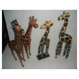 4 Wooden Giraffes, 20 Inches