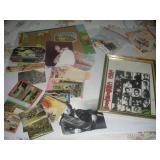 Misc. Lot- Vintage Postcards, Framed Lou Christie