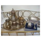 Silver-plate Tea Service, Pewter Cup and Rattle