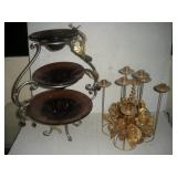 Glass and Metal 3 Tier Stand and Candelabra