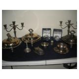 Silver Plate Candelabras and Chaffing Dishes
