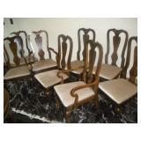 Drexel Walnut Burl Chairs, 2 Captains, 4 Side