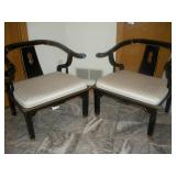 2 Black Lacquer Chairs, Century Chair Co.