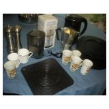 Espresso Maker,  Chargers, Salt and Pepper