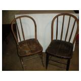 2 Hoop Back Wood Chairs, Damaged