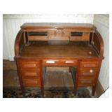 Wood Roll Top Secretary Desk,
