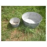 2 Galvanized Tubs, 14 and 27 inch Diameter