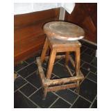 Antique Wood Bar Stool