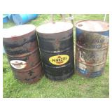 (3) 55 Gallon Advertising Drums