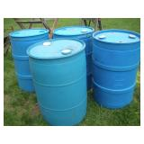 4 Blue 55 Gallon Plastic Drums