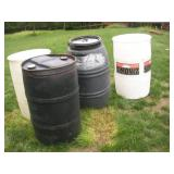(4) Plastic 55 Gallon Drums