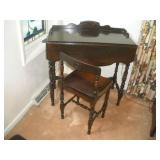 Writing Desk With Chair  Drop Front  21x30x29
