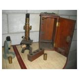 Vintage Microscope With Case