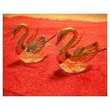 2 Italian Swans with Sterling S. Serving Spoons