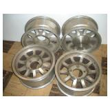 Set of 4 Aluminum Rims, 15x7, 5 inch Bolt Pattern