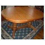 Oak Double Pedestal Table w/leaf, 60/72x40x30