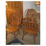 6 Hoop Back Oak Chairs, 4 Side and 2 Captains